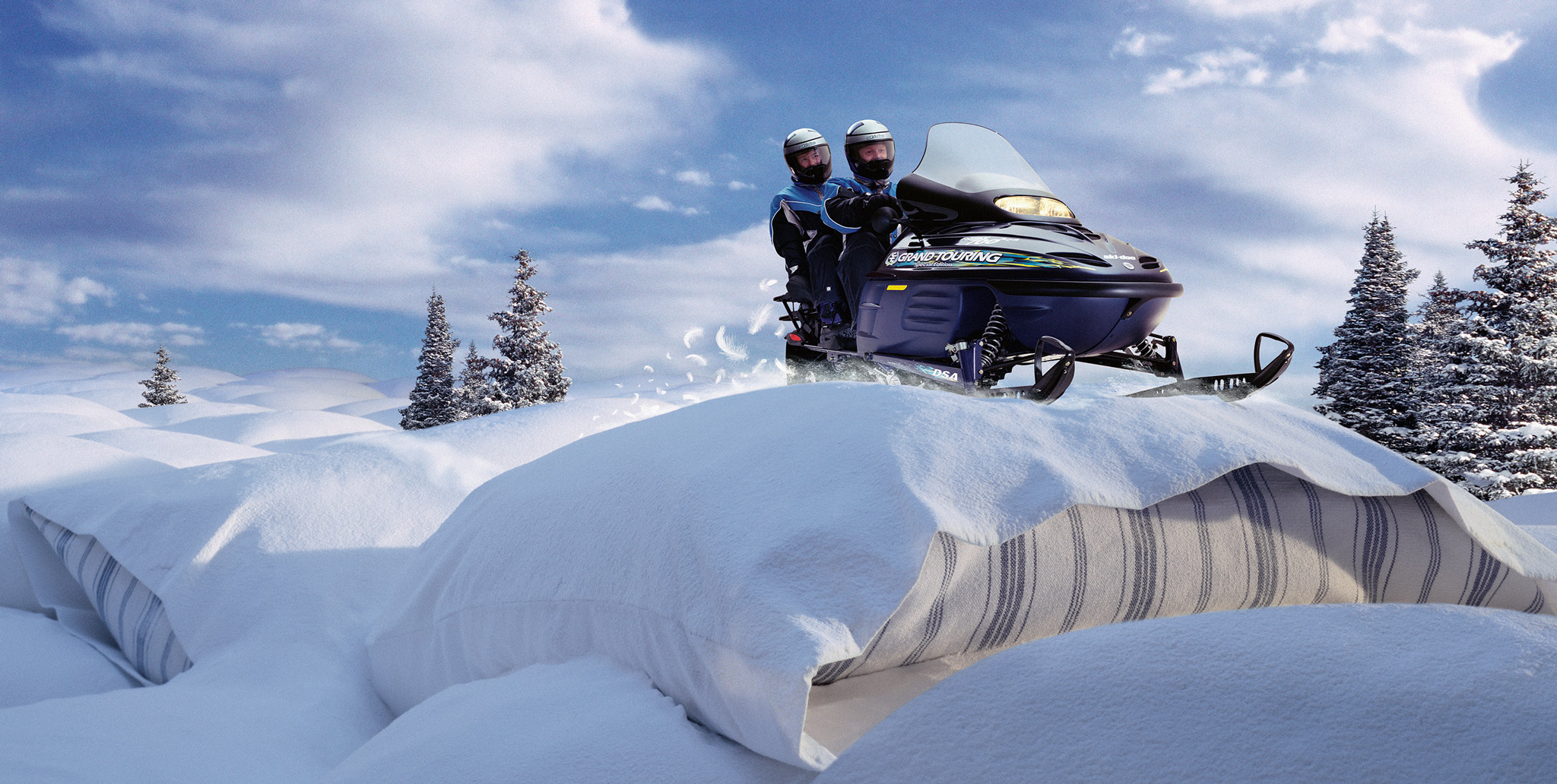 SkiDoo | snowmobile riding on pillows | miniature set | Glen Wexler | Advertising Photographer