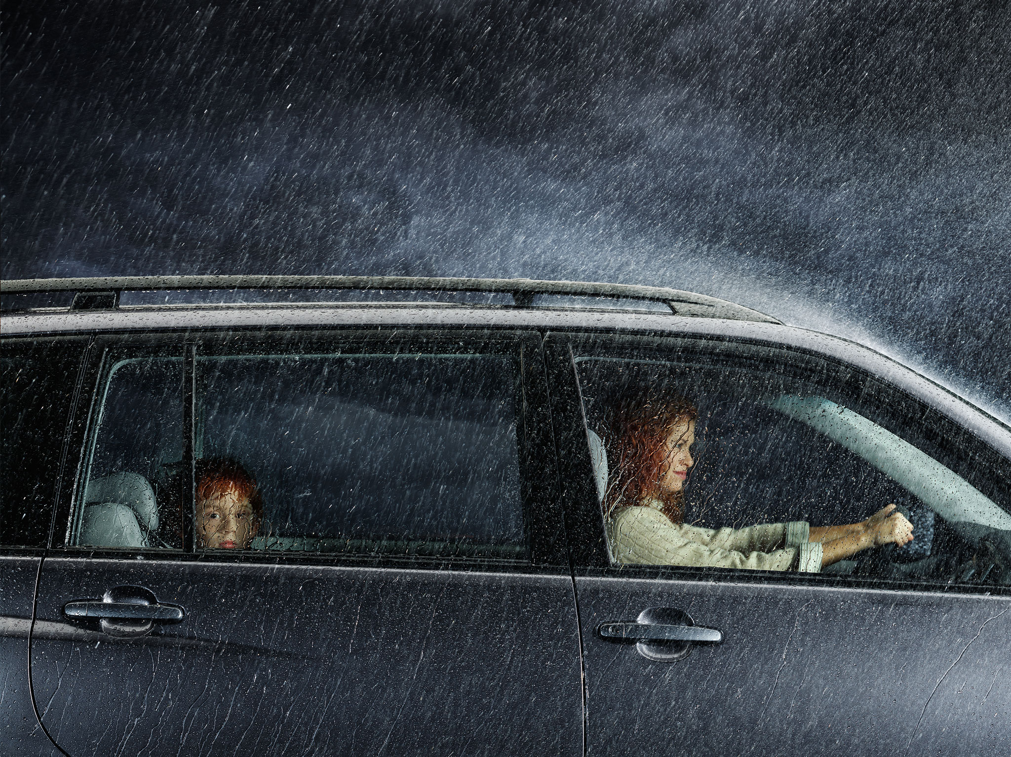 Toyota | Star Safety | studio photography of car in rain storm  | Glen Wexler | Advertising Photographer