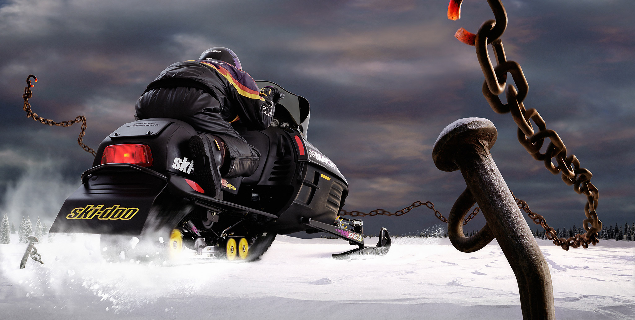 SkiDoo | snowmobile breaking chain |  miniature set | Glen Wexler | Advertising Photographer